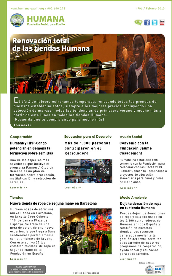 HUMANA NEWS 1 1 DE FEBRERO 2013